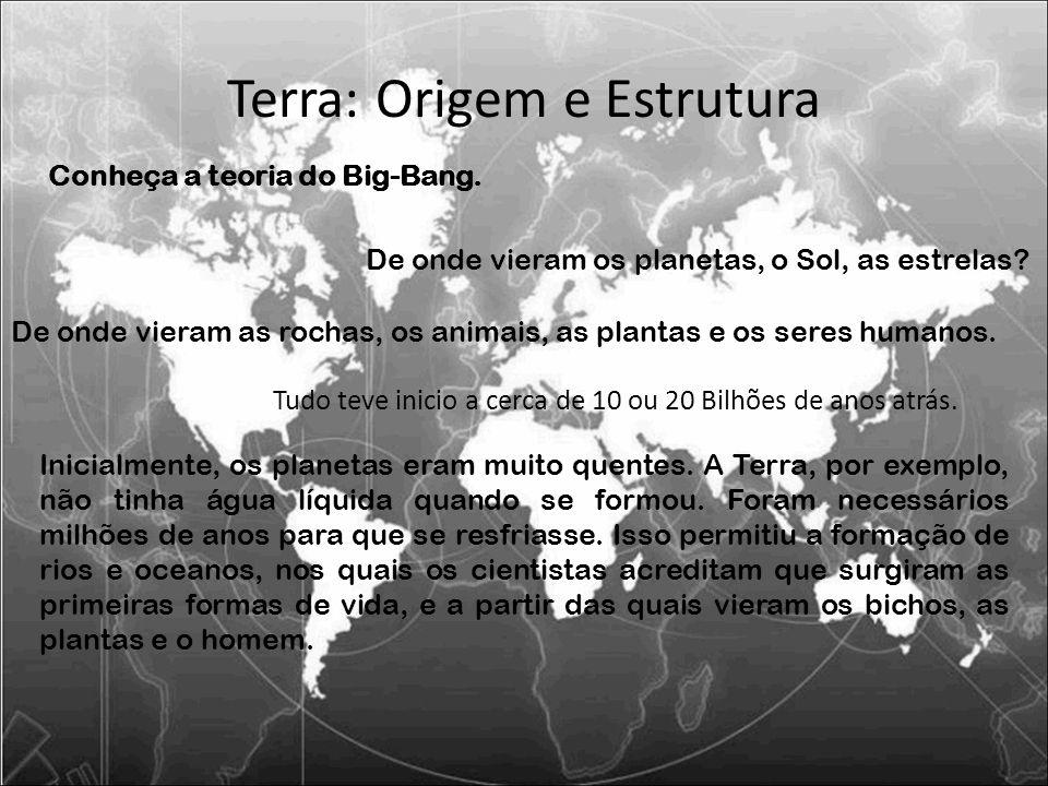 Terra: Origem e Estrutura De onde vieram os planetas, o Sol, as estrelas? De onde vieram as rochas, os animais, as plantas e os seres humanos. Conheça