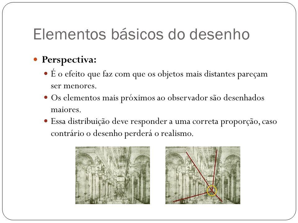 Elementos básicos do desenho Perspectiva: É o efeito que faz com que os objetos mais distantes pareçam ser menores. Os elementos mais próximos ao obse