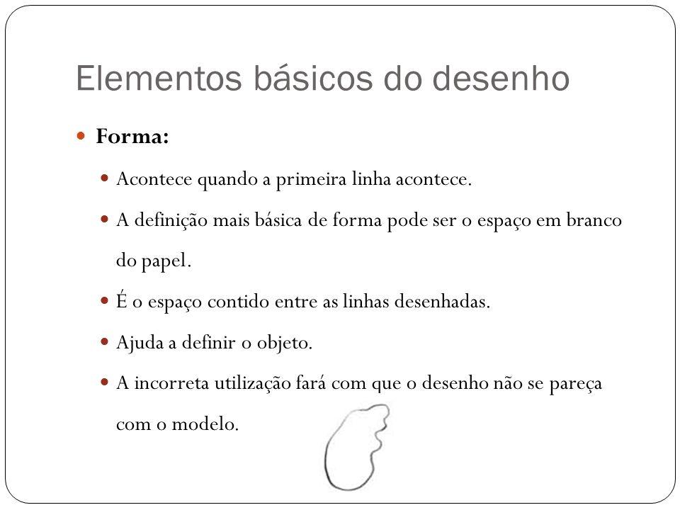 Elementos básicos do desenho Forma: Acontece quando a primeira linha acontece. A definição mais básica de forma pode ser o espaço em branco do papel.