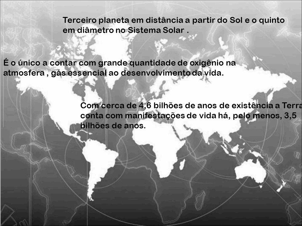 Terceiro planeta em distância a partir do Sol e o quinto em diâmetro no Sistema Solar. É o único a contar com grande quantidade de oxigênio na atmosfe