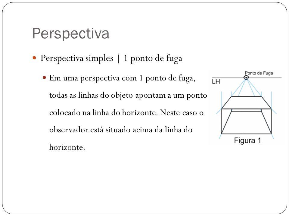 Perspectiva Perspectiva simples | 1 ponto de fuga Em uma perspectiva com 1 ponto de fuga, todas as linhas do objeto apontam a um ponto colocado na lin