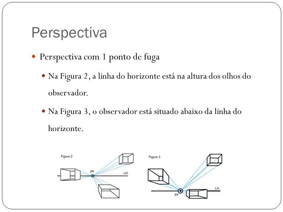 Perspectiva Perspectiva com 1 ponto de fuga Na Figura 2, a linha do horizonte está na altura dos olhos do observador. Na Figura 3, o observador está s