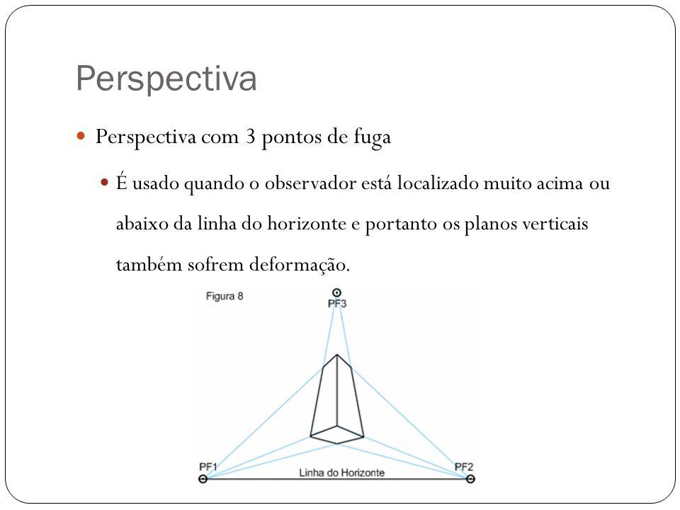 Perspectiva Perspectiva com 3 pontos de fuga É usado quando o observador está localizado muito acima ou abaixo da linha do horizonte e portanto os pla