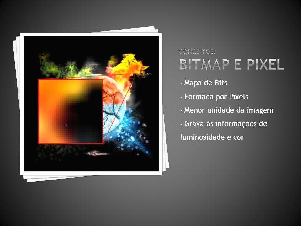 Mapa de Bits Formada por Pixels Menor unidade da imagem Grava as informações de luminosidade e cor