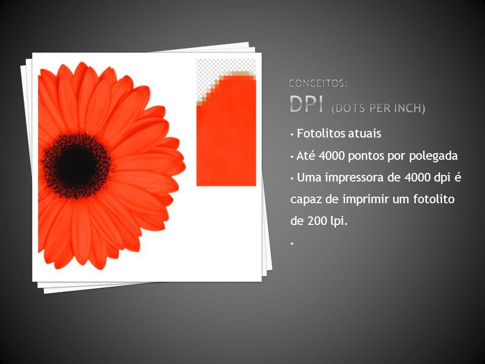 Fotolitos atuais Até 4000 pontos por polegada Uma impressora de 4000 dpi é capaz de imprimir um fotolito de 200 lpi.