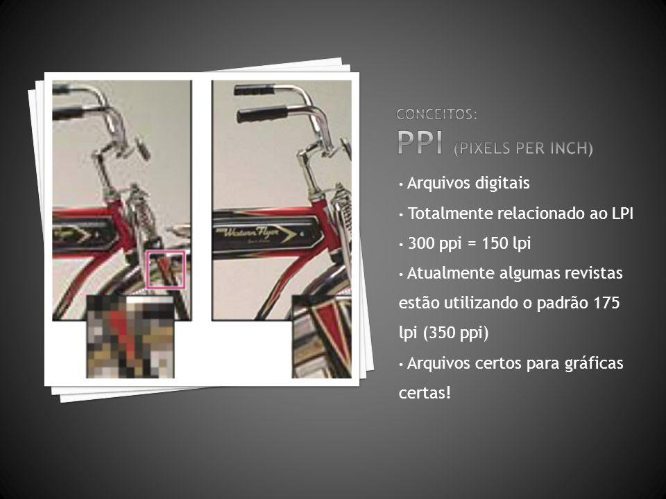 Arquivos digitais Totalmente relacionado ao LPI 300 ppi = 150 lpi Atualmente algumas revistas estão utilizando o padrão 175 lpi (350 ppi) Arquivos cer
