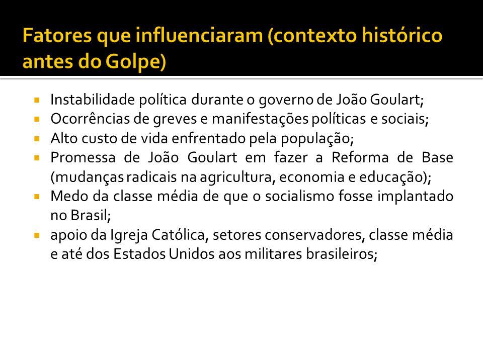 Instabilidade política durante o governo de João Goulart; Ocorrências de greves e manifestações políticas e sociais; Alto custo de vida enfrentado pel
