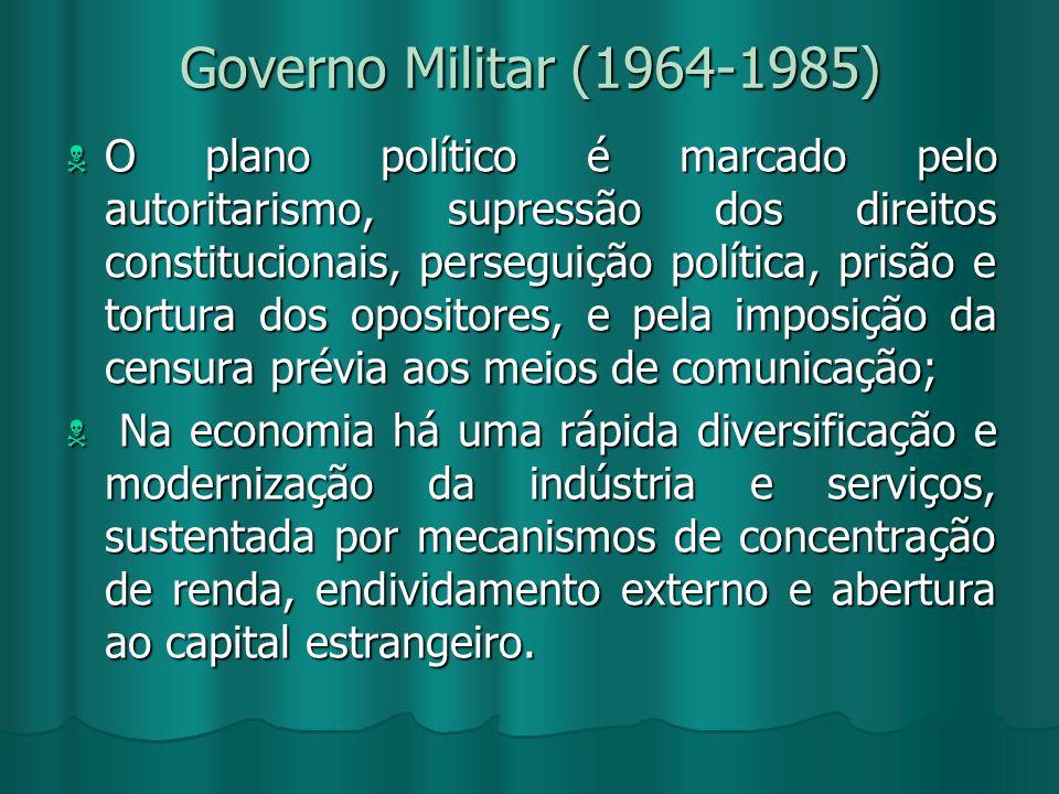 Governo Militar (1964-1985) O plano político é marcado pelo autoritarismo, supressão dos direitos constitucionais, perseguição política, prisão e tort