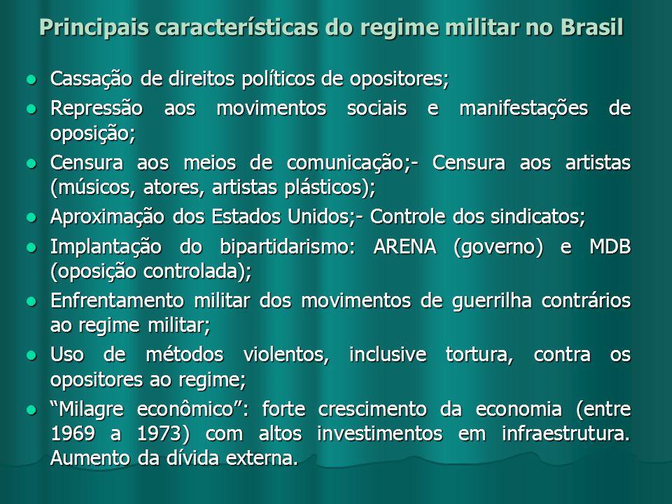 Principais características do regime militar no Brasil Cassação de direitos políticos de opositores; Cassação de direitos políticos de opositores; Rep