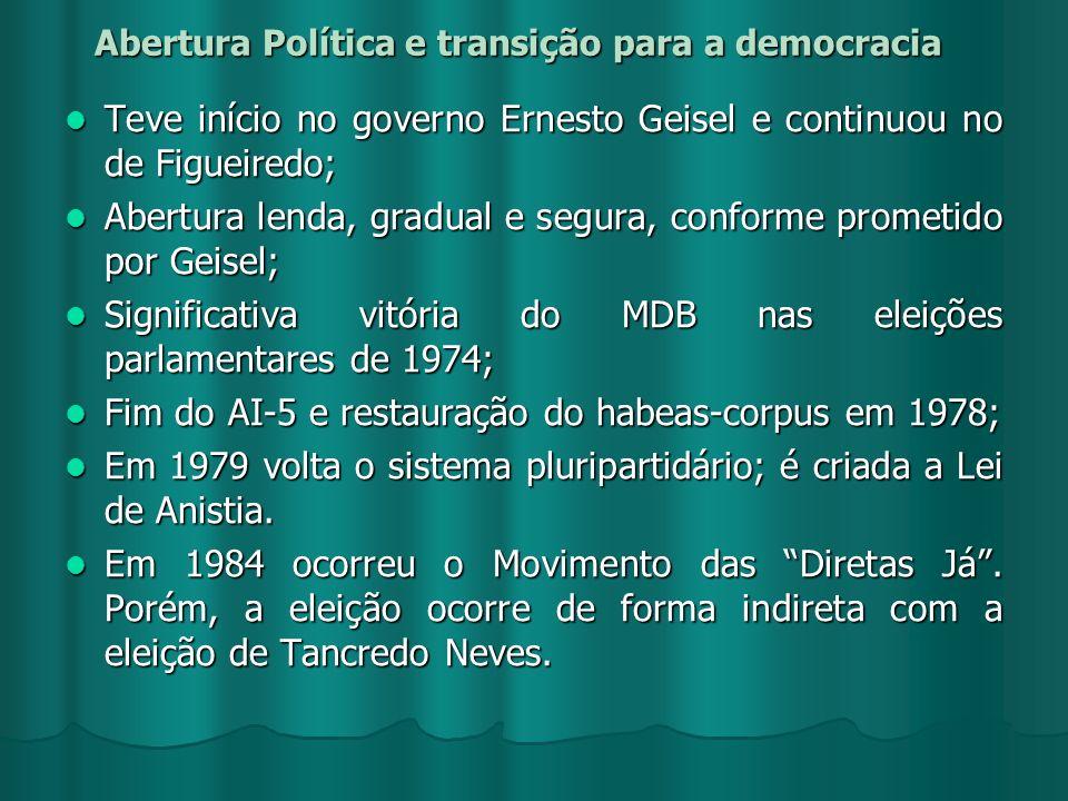 Abertura Política e transição para a democracia Teve início no governo Ernesto Geisel e continuou no de Figueiredo; Teve início no governo Ernesto Gei
