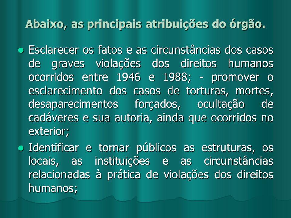Abaixo, as principais atribuições do órgão. Esclarecer os fatos e as circunstâncias dos casos de graves violações dos direitos humanos ocorridos entre