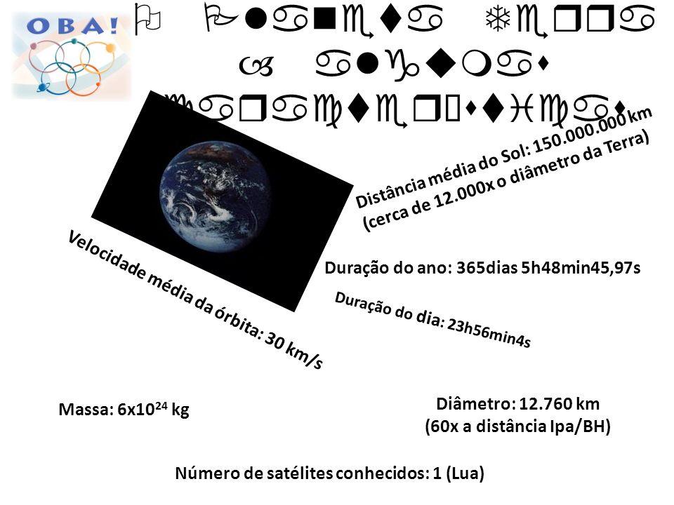 Distância média do Sol: 150.000.000 km (cerca de 12.000x o diâmetro da Terra) Velocidade média da órbita: 30 km/s Duração do ano: 365dias 5h48min45,97