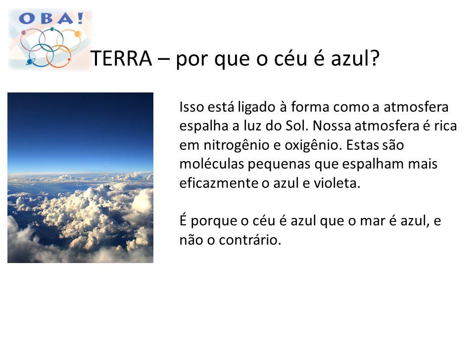 TERRA – por que o céu é azul? Isso está ligado à forma como a atmosfera espalha a luz do Sol. Nossa atmosfera é rica em nitrogênio e oxigênio. Estas s