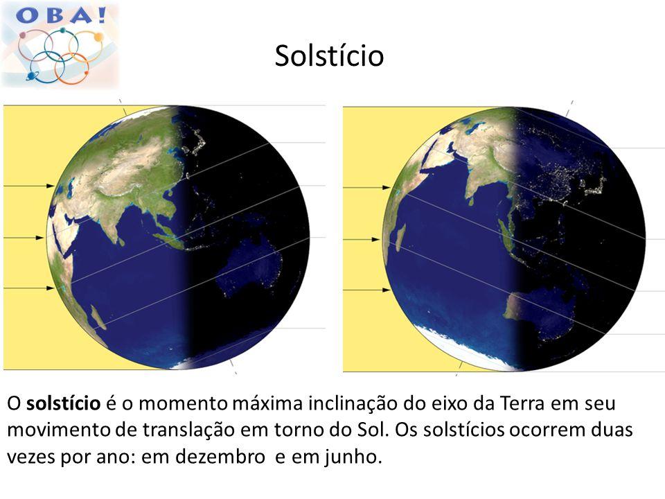 Solstício O solstício é o momento máxima inclinação do eixo da Terra em seu movimento de translação em torno do Sol. Os solstícios ocorrem duas vezes