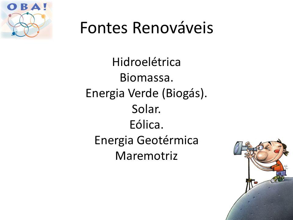 Fontes Renováveis Hidroelétrica Biomassa. Energia Verde (Biogás). Solar. Eólica. Energia Geotérmica Maremotriz