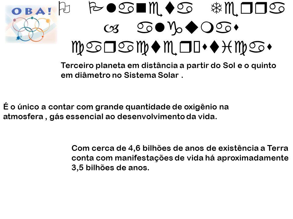 Distância média do Sol: 150.000.000 km (cerca de 12.000x o diâmetro da Terra) Velocidade média da órbita: 30 km/s Duração do ano: 365dias 5h48min45,97s Duração do dia : 23h56min4s Diâmetro: 12.760 km (60x a distância Ipa/BH) Massa: 6x10 24 kg Número de satélites conhecidos: 1 (Lua) O Planeta Terra – algumas características