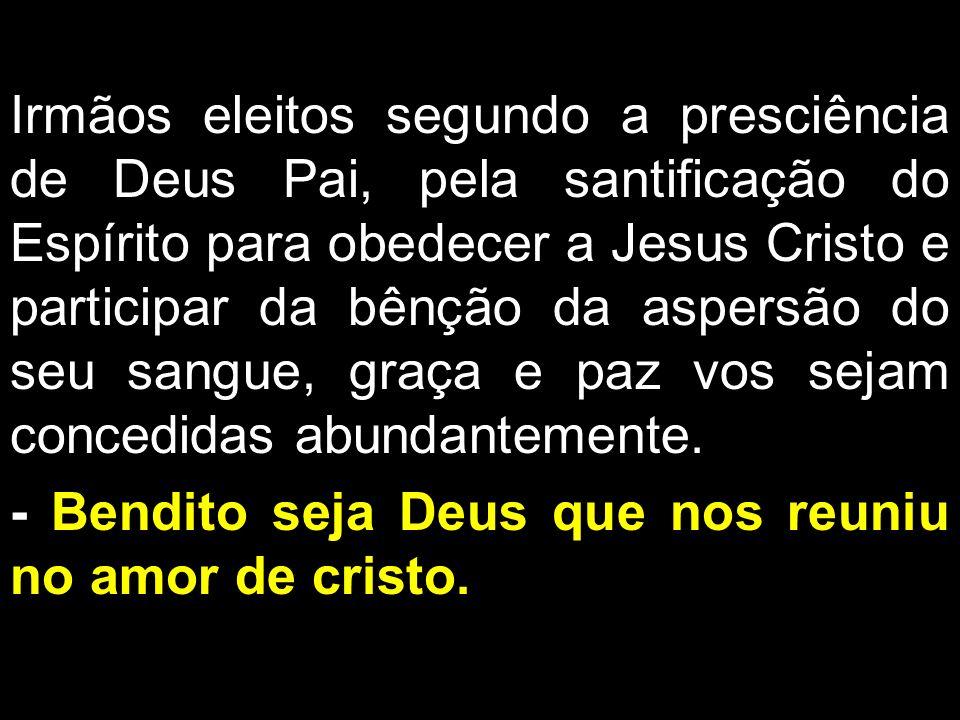 Irmãos eleitos segundo a presciência de Deus Pai, pela santificação do Espírito para obedecer a Jesus Cristo e participar da bênção da aspersão do seu