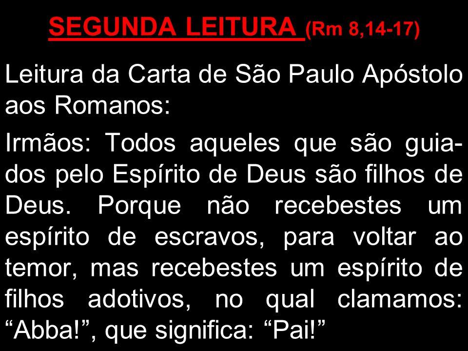 SEGUNDA LEITURA (Rm 8,14-17) Leitura da Carta de São Paulo Apóstolo aos Romanos: Irmãos: Todos aqueles que são guia- dos pelo Espírito de Deus são fil