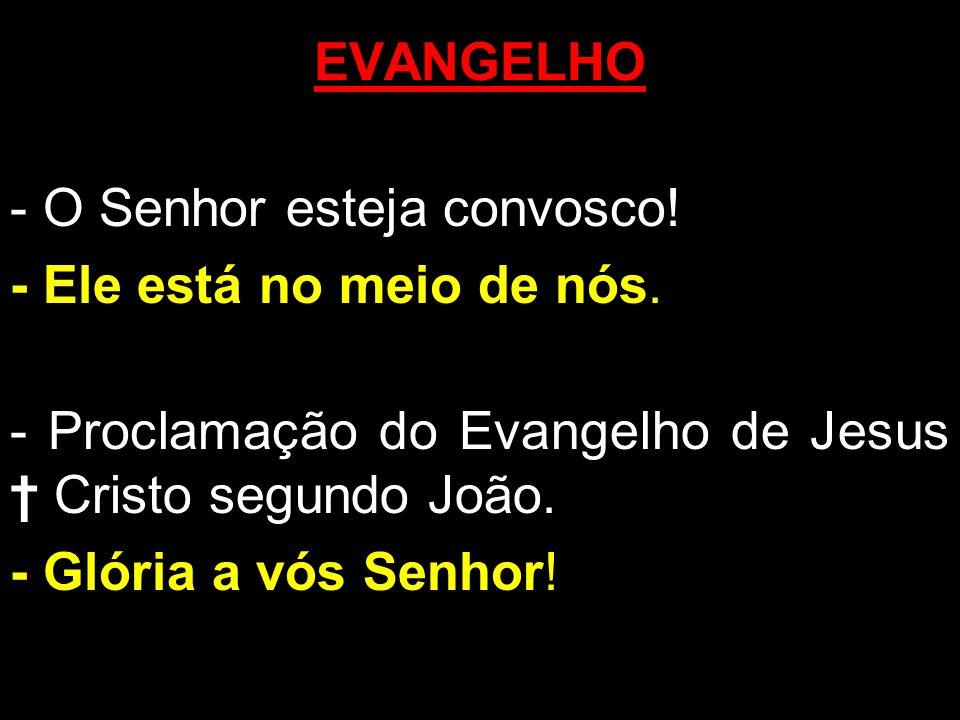 EVANGELHO - O Senhor esteja convosco! - Ele está no meio de nós. - Proclamação do Evangelho de Jesus Cristo segundo João. - Glória a vós Senhor!