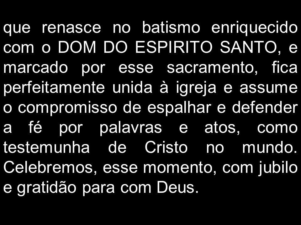 que renasce no batismo enriquecido com o DOM DO ESPIRITO SANTO, e marcado por esse sacramento, fica perfeitamente unida à igreja e assume o compromiss