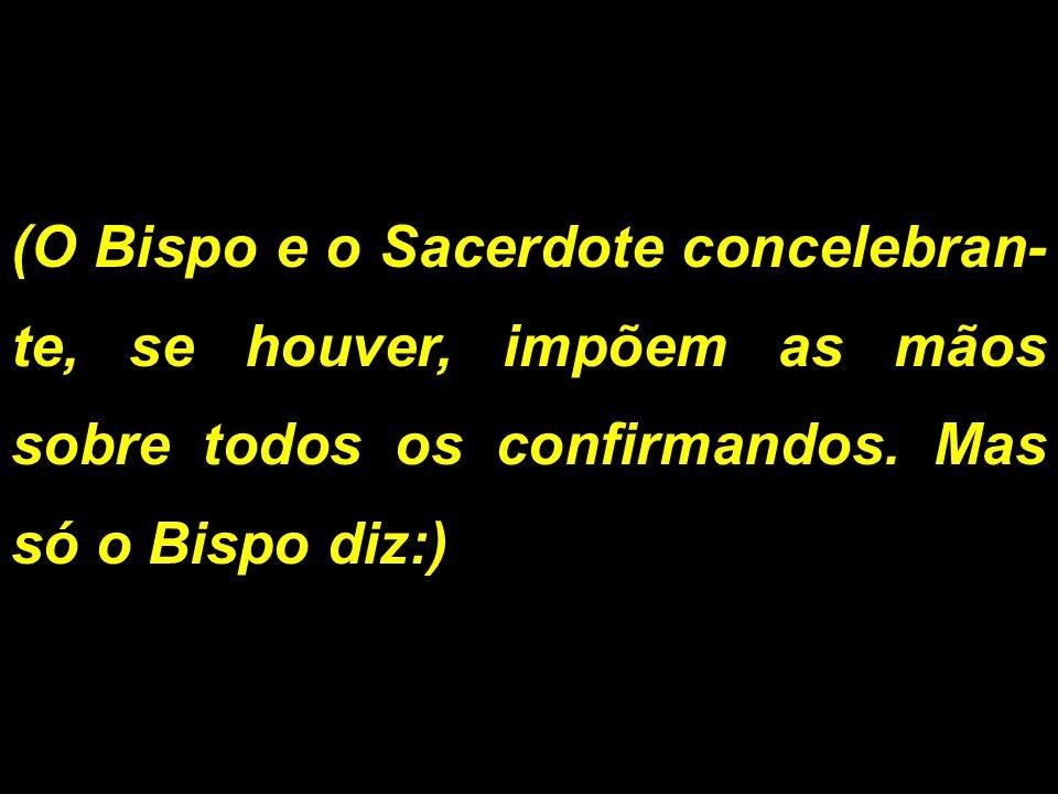 (O Bispo e o Sacerdote concelebran- te, se houver, impõem as mãos sobre todos os confirmandos. Mas só o Bispo diz:)
