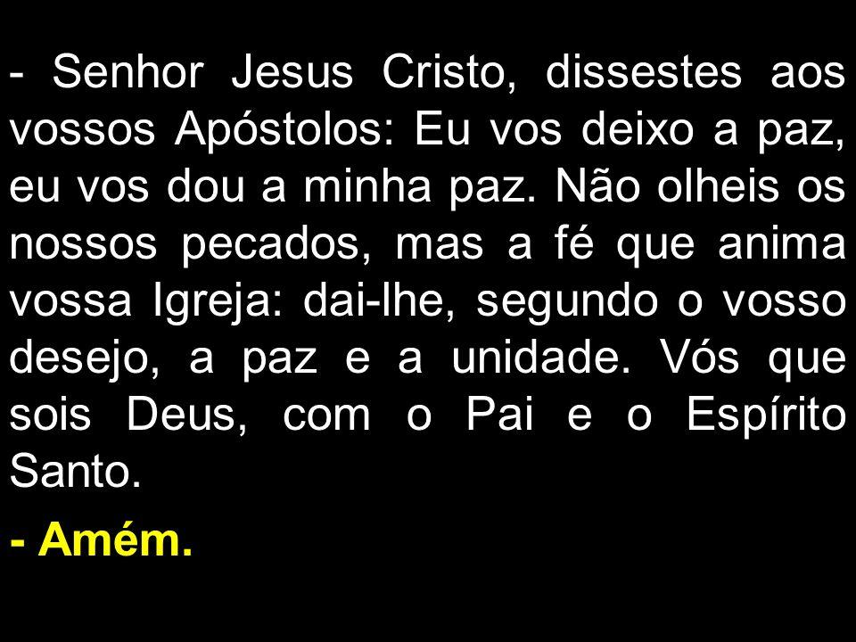 - Senhor Jesus Cristo, dissestes aos vossos Apóstolos: Eu vos deixo a paz, eu vos dou a minha paz. Não olheis os nossos pecados, mas a fé que anima vo