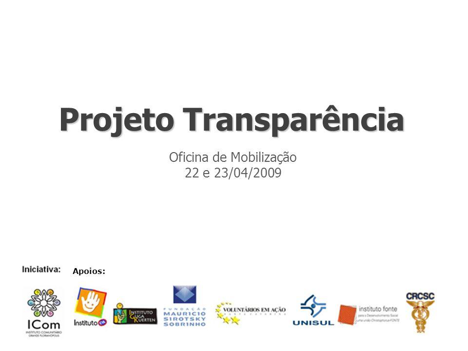 Projeto Transparência Oficina de Mobilização 22 e 23/04/2009 Apoios: