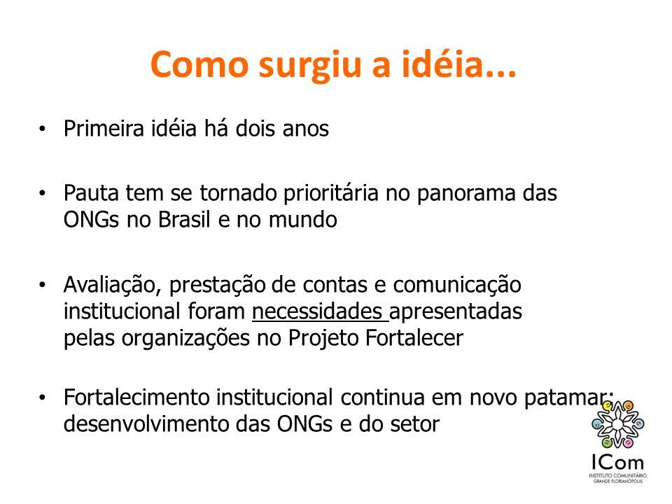 Como surgiu a idéia... Primeira idéia há dois anos Pauta tem se tornado prioritária no panorama das ONGs no Brasil e no mundo Avaliação, prestação de