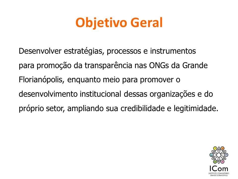 Objetivo Geral Desenvolver estratégias, processos e instrumentos para promoção da transparência nas ONGs da Grande Florianópolis, enquanto meio para p