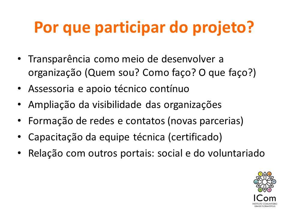 Por que participar do projeto? Transparência como meio de desenvolver a organização (Quem sou? Como faço? O que faço?) Assessoria e apoio técnico cont