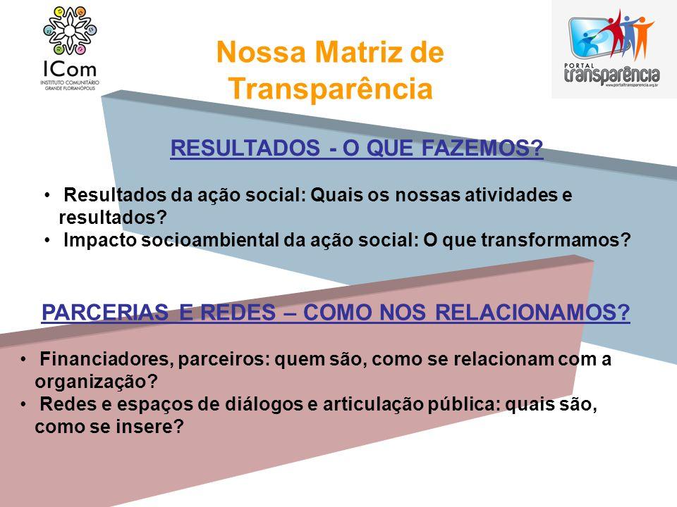 Nossa Matriz de Transparência RESULTADOS - O QUE FAZEMOS? Resultados da ação social: Quais os nossas atividades e resultados? Impacto socioambiental d