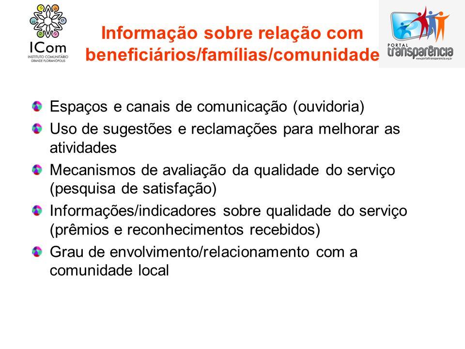 Informação sobre relação com beneficiários/famílias/comunidade Espaços e canais de comunicação (ouvidoria) Uso de sugestões e reclamações para melhora