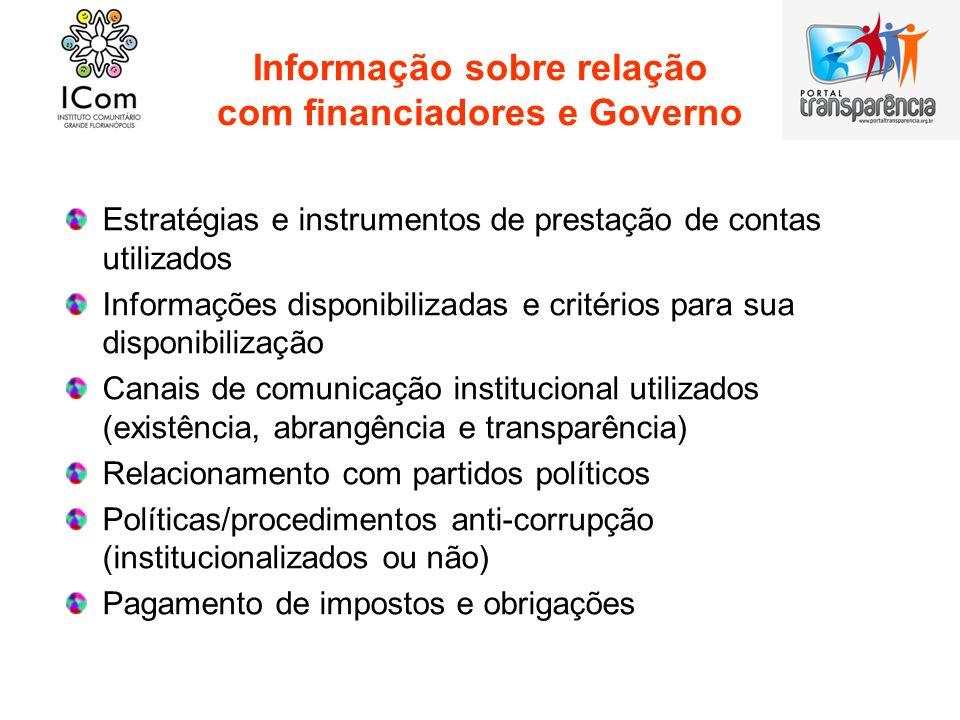 Informação sobre relação com financiadores e Governo Estratégias e instrumentos de prestação de contas utilizados Informações disponibilizadas e crité