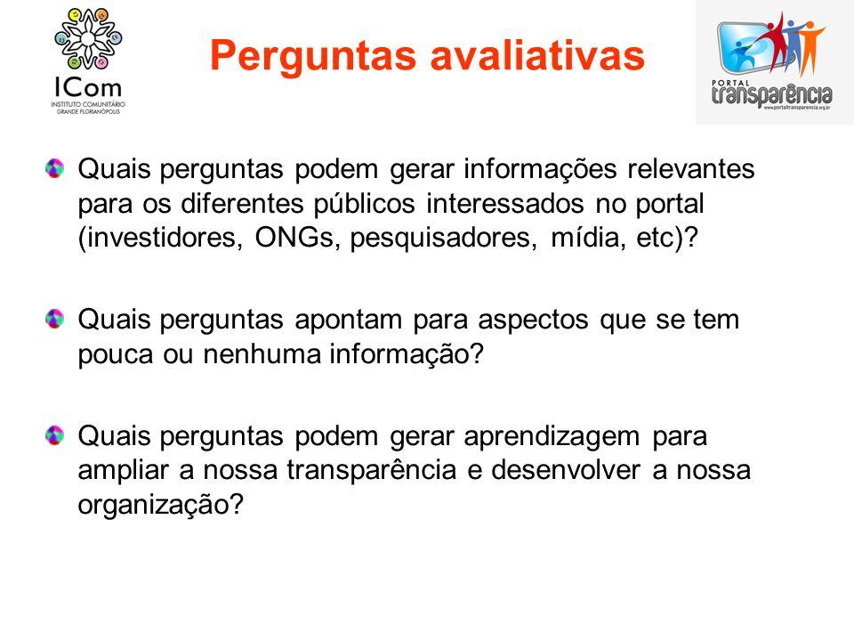 Perguntas avaliativas Quais perguntas podem gerar informações relevantes para os diferentes públicos interessados no portal (investidores, ONGs, pesqu