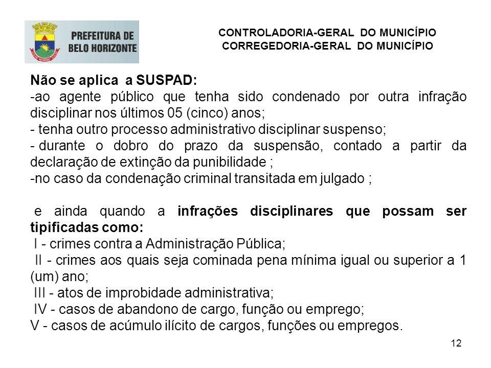 12 Não se aplica a SUSPAD: -ao agente público que tenha sido condenado por outra infração disciplinar nos últimos 05 (cinco) anos; - tenha outro proce