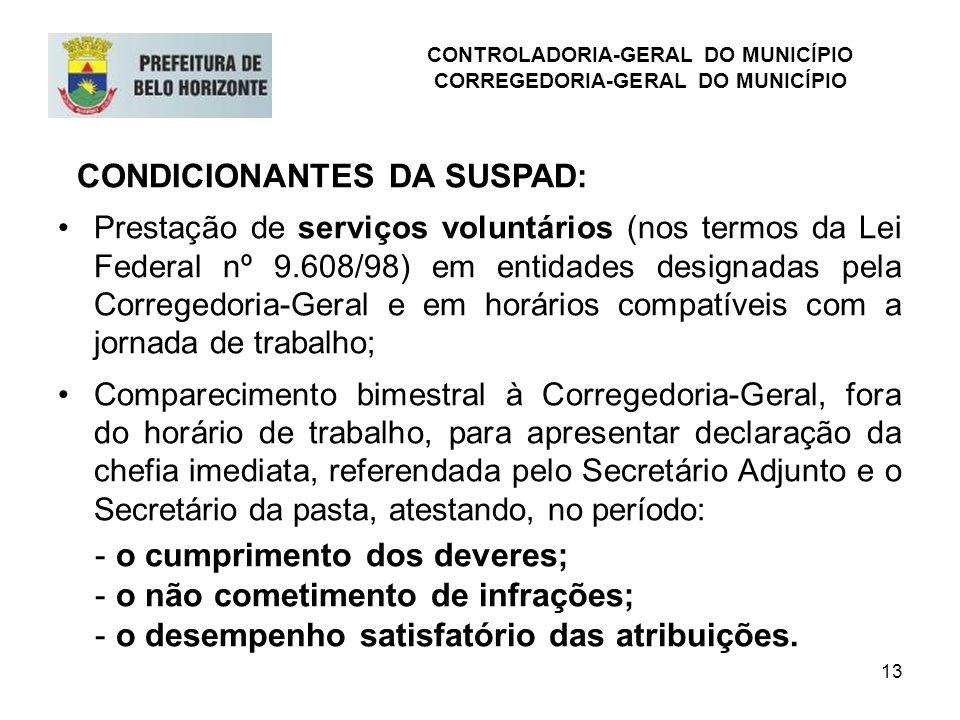 13 CONDICIONANTES DA SUSPAD: Prestação de serviços voluntários (nos termos da Lei Federal nº 9.608/98) em entidades designadas pela Corregedoria-Geral