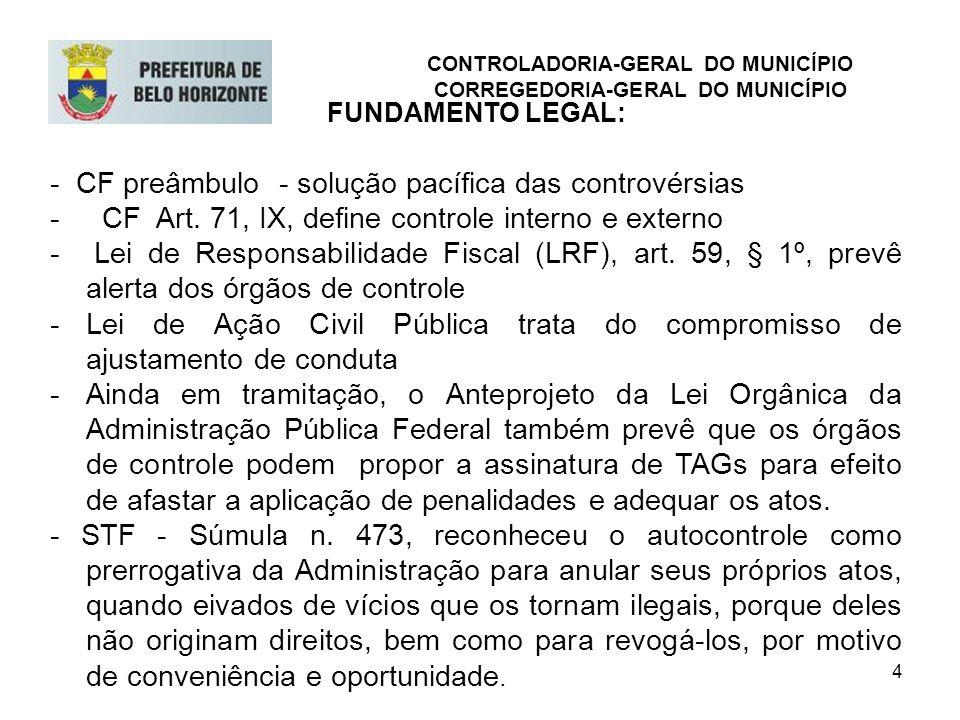4 FUNDAMENTO LEGAL: - CF preâmbulo - solução pacífica das controvérsias - CF Art. 71, IX, define controle interno e externo - Lei de Responsabilidade