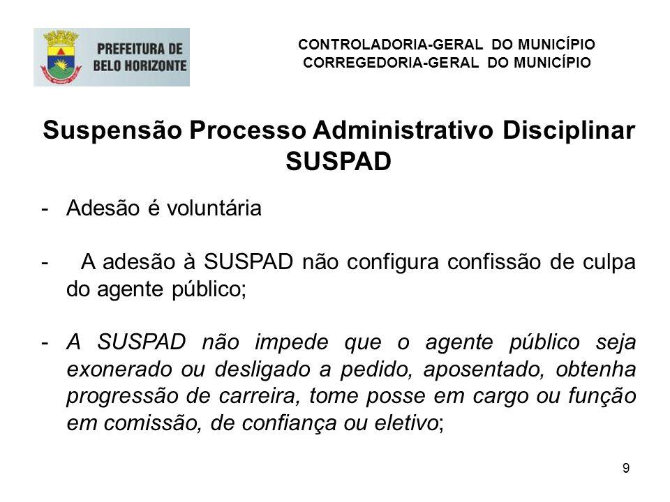 9 Suspensão Processo Administrativo Disciplinar SUSPAD -Adesão é voluntária - A adesão à SUSPAD não configura confissão de culpa do agente público; -A
