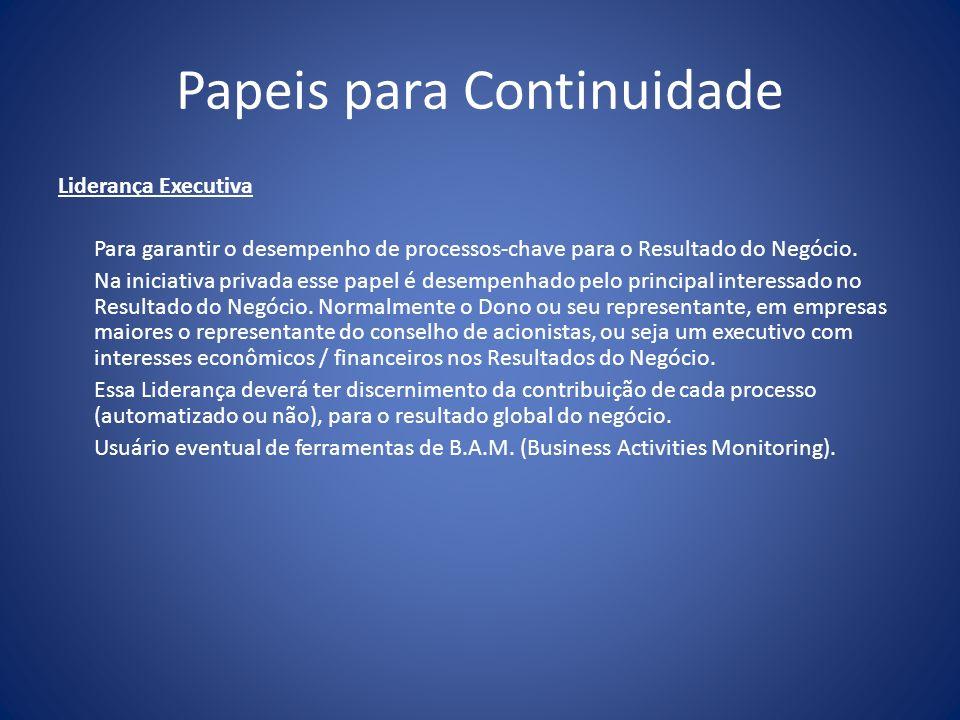 Papeis para Continuidade Liderança Executiva Para garantir o desempenho de processos-chave para o Resultado do Negócio. Na iniciativa privada esse pap