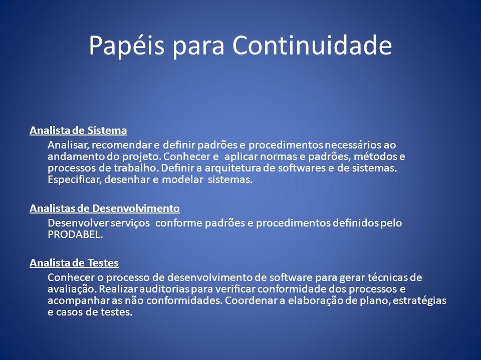 Papéis para Continuidade Analista de Sistema Analisar, recomendar e definir padrões e procedimentos necessários ao andamento do projeto. Conhecer e ap