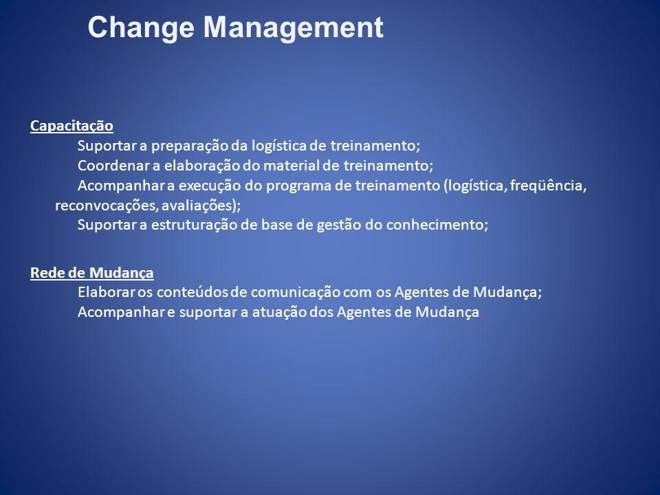 Capacitação Suportar a preparação da logística de treinamento; Coordenar a elaboração do material de treinamento; Acompanhar a execução do programa de