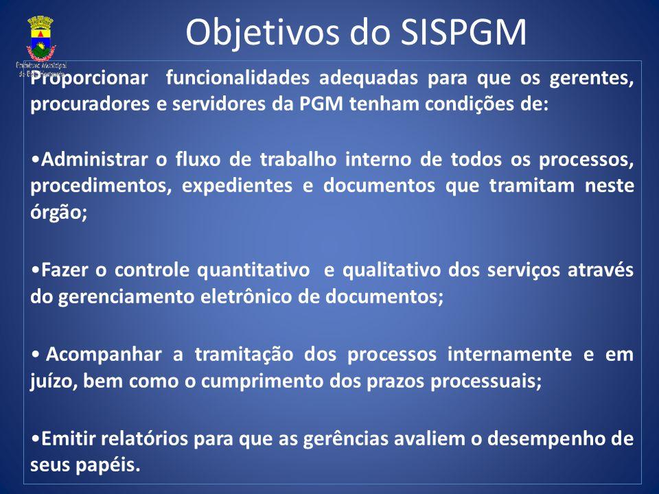 Objetivos do SISPGM Proporcionar funcionalidades adequadas para que os gerentes, procuradores e servidores da PGM tenham condições de: Administrar o f