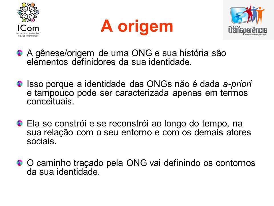 A origem A gênese/origem de uma ONG e sua história são elementos definidores da sua identidade. Isso porque a identidade das ONGs não é dada a-priori
