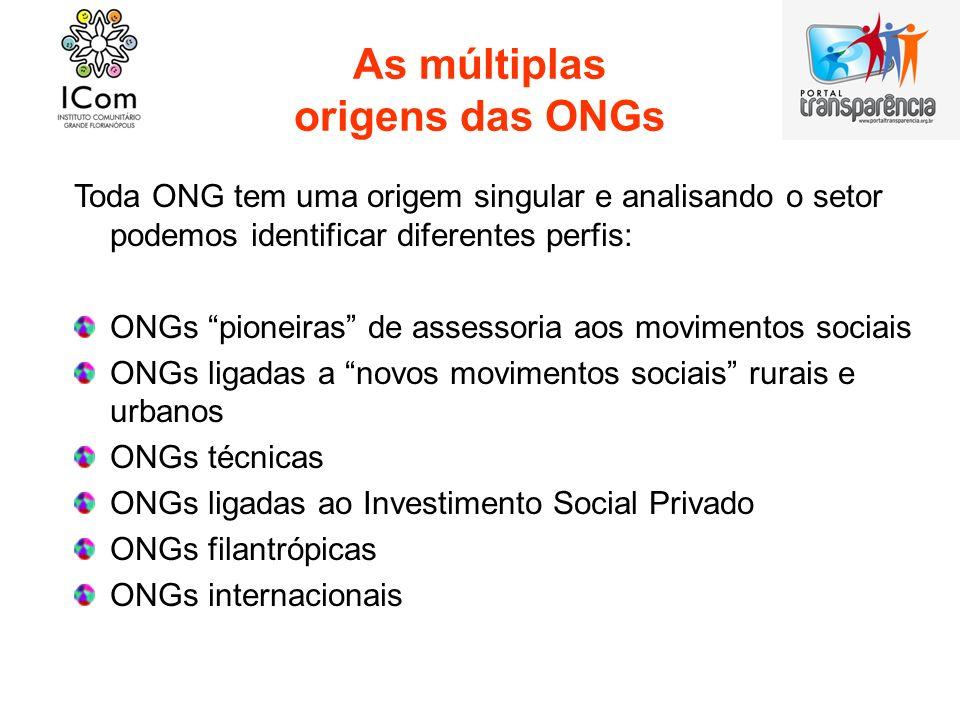As múltiplas origens das ONGs Toda ONG tem uma origem singular e analisando o setor podemos identificar diferentes perfis: ONGs pioneiras de assessori