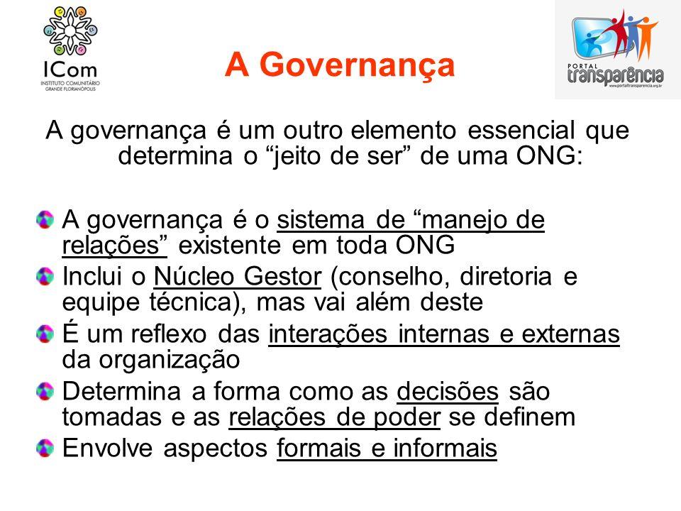 A Governança A governança é um outro elemento essencial que determina o jeito de ser de uma ONG: A governança é o sistema de manejo de relações existe