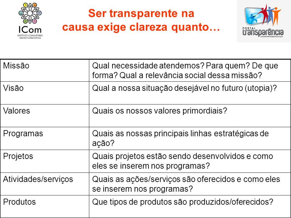 Ser transparente na causa exige clareza quanto… MissãoQual necessidade atendemos? Para quem? De que forma? Qual a relevância social dessa missão? Visã