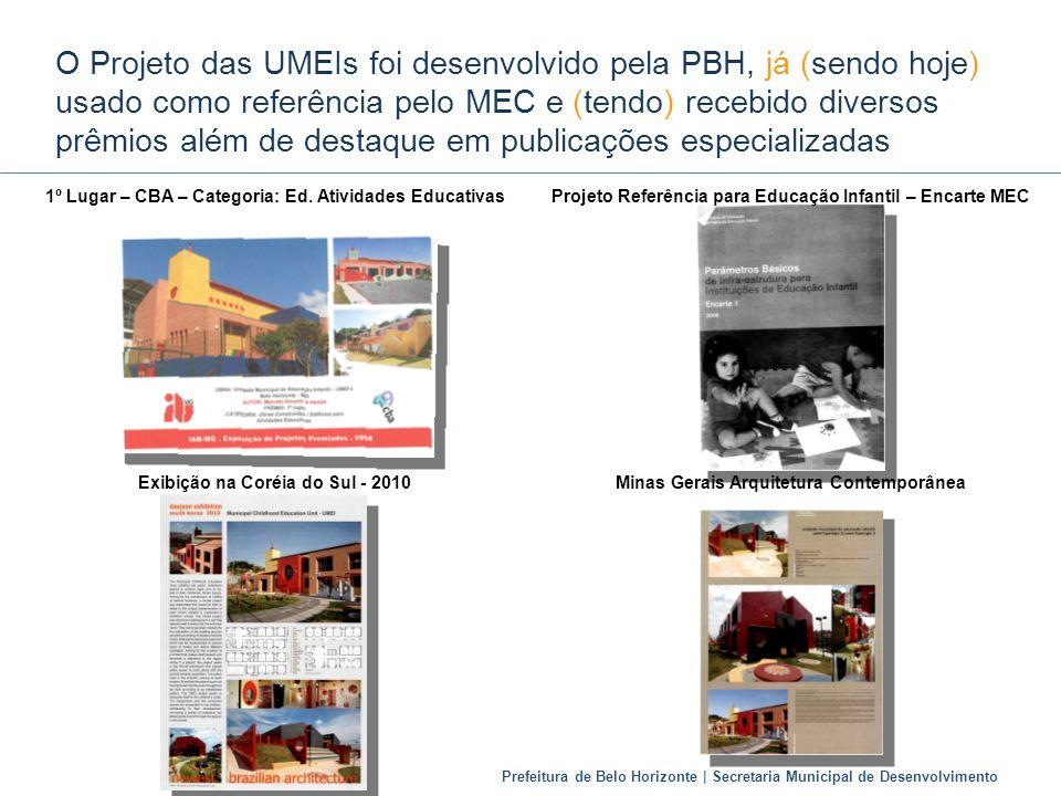Prefeitura de Belo Horizonte | Secretaria Municipal de Desenvolvimento O Projeto das UMEIs foi desenvolvido pela PBH, já (sendo hoje) usado como refer