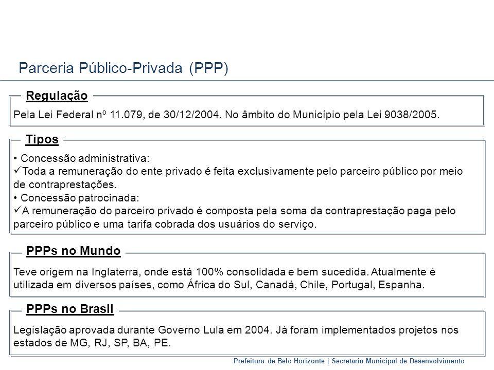 Prefeitura de Belo Horizonte | Secretaria Municipal de Desenvolvimento Parceria Público-Privada (PPP) Pela Lei Federal nº 11.079, de 30/12/2004. No âm