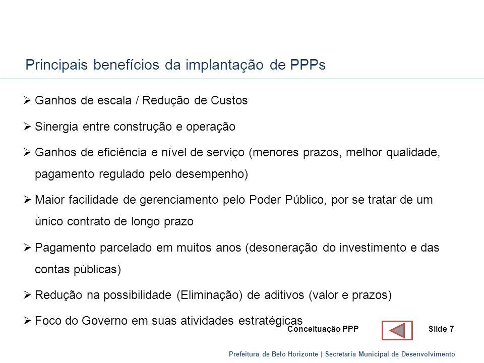 Prefeitura de Belo Horizonte | Secretaria Municipal de Desenvolvimento Principais benefícios da implantação de PPPs Ganhos de escala / Redução de Cust