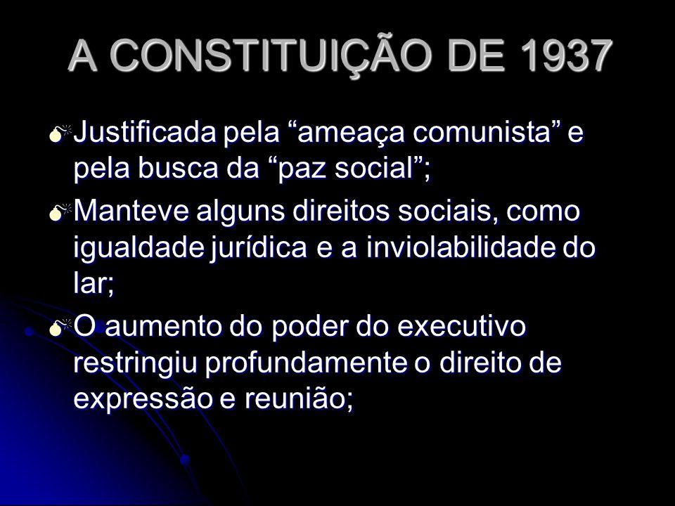 A CONSTITUIÇÃO DE 1937 Justificada pela ameaça comunista e pela busca da paz social; Justificada pela ameaça comunista e pela busca da paz social; Man